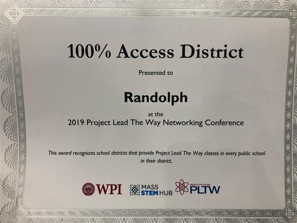 RPS Receives award for 100% access to PLTW (Project Lead The Way) classes in every school.